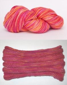 Manos del Uruguay Maxima wool in Peach Melba (top) and finished cowl