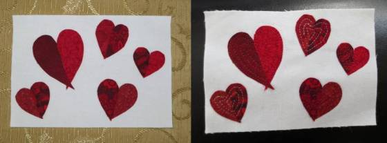 The hearts were fused, left, then machine quilted, right.