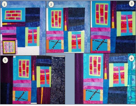 Layouts 1-3 and 5 are each different. Layouts 3 and 4 are the same except for the border fabrics.