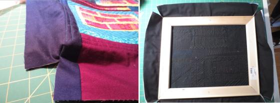 Right side of sewn corner seam (left); frame nesting in the quilt (right)
