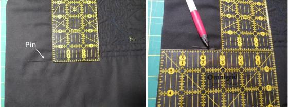 The stabilising ruler follows the quilting lines (left); a second ruler butts against the first (right)