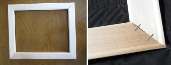 Squared frame (left); detail of stapled corner (right)