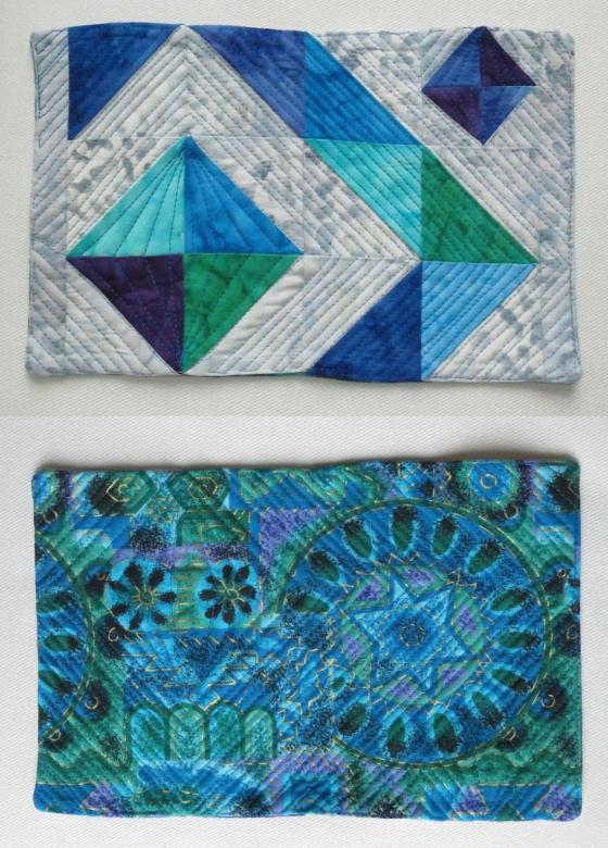 Front and back of the Diamond mug rug.