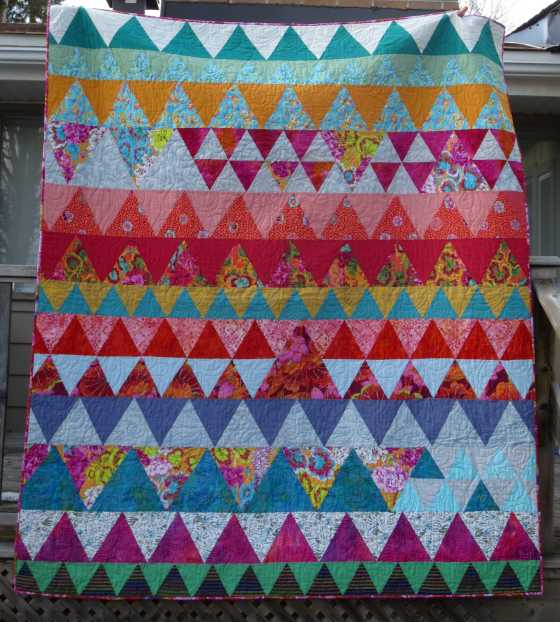 "Triangle Quilt, approx. 72"" x 66"", from an online course taught by Rachel Hauser"