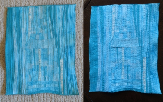 It's odd how the seam allowances are so visible in the picture on the right. The light source was the same but the quilt on the left was on a light carpet while the picture on the right was on a dark table.